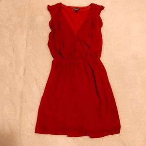 express red polyester wrap dress